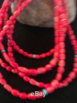 Native American 5 St Turquoise Red CORAL Sterling Silver Necklace Gift