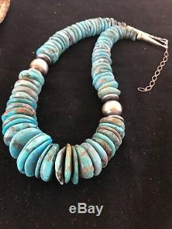 Native American Navajo Blue Turquoise Sterling Silver Necklace 20 Gift Set 3136