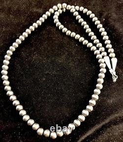 Native American Navajo Pearl 6mm Sterling Silver Bead Necklace 24Sale Gift S415