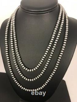 Native American Navajo Pearls 5 mm Sterling Silver Bead Necklace 60Sale Gift A5