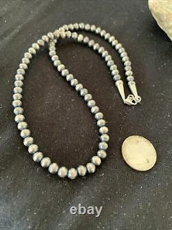 Native American Navajo Pearls 6mm Sterling Silver Bead Necklace 16 Sale Gift