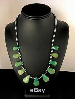 Native American Navajo Pearls St Silver Green Turquoise Necklace Gift 8744