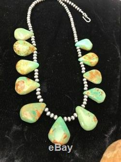 Native American Navajo Pearls St Silver Royston Turquoise Necklace Gift D S427