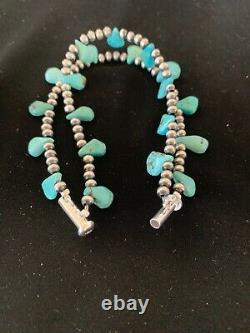 Native American Navajo Pearls Sterling Silver Blue Turquoise Bracelet Gift 3173
