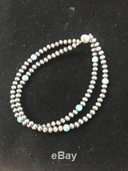 Native American Navajo Pearls Sterling Silver Blue Turquoise Bracelet Gift S378