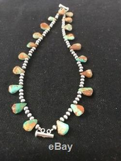 Native American Navajo Pearls Sterling Silver Green Turquoise Bracelet Gift S428