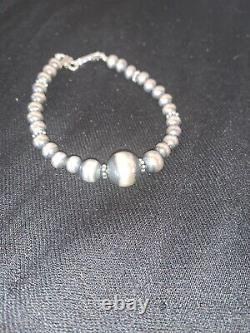 Native American Navajo Pearls Sterling Silver Handmade Bead Bracelet Gift 4698