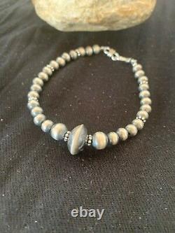 Native American Navajo Pearls Sterling Silver Handmade Bead Bracelet Gift 4699