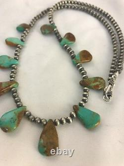 Native American Navajo Pearls Sterling Silver Royston Turquoise Necklace Gift377