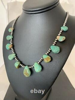 Native American Navajo Pearls Sterling Silver Royston Turquoise Necklace Gift482