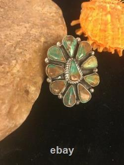 Native American Navajo St Silver Green Turquoise Cluster Ring Sz 11 Gift G419