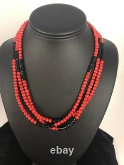 Native American Navajo Sterling Silver Coral Necklace Pendant 20 Gift 3 Strand
