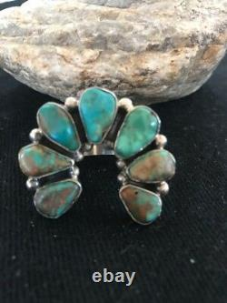 Native American Navajo Sterling Silver Green Turquoise Naja Ring Sz 11 Gift 379