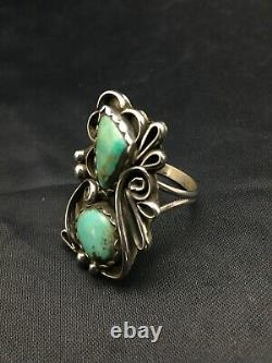 Native American Navajo Turquoise Sterling Silver Ring Platero Set 10.5 3168 Gift