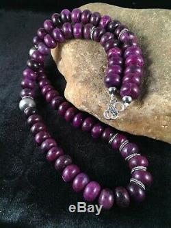 Native American Purple Sugilite Turquoise Bead Sterling Silver Necklace Gift I