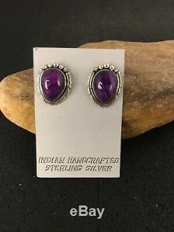 Native American SUGILITE Sterling Silver Earrings 1 Gift 8851