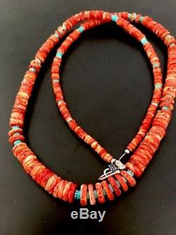 Native American Spiny Oyster Turquoise Sterling Silver Necklace 26 Gift