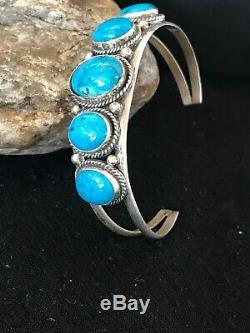 Native American Sterling Silver Blue Turquoise Bracelet Mens Gift 8689