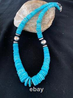 Native American Sterling Silver Blue Turquoise Graduated Necklace Gift 2716
