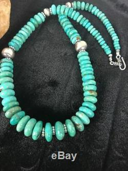 Native American Sterling Silver Blue Turquoise Graduated Necklace Gift S396