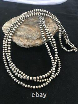 Native American Sterling Silver Navajo Pearls 4, 5, 6 mm Necklace 21 3 St Gift