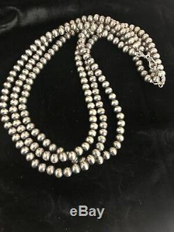 Native American Sterling Silver Navajo Pearls 7 mm Necklace 21 3 Strand Gift