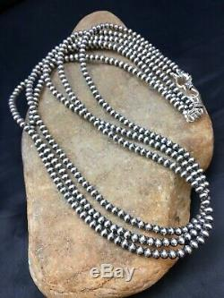Native American Sterling Silver Navajo Pearls Necklace 21 3 Str Gift 4mm 8973