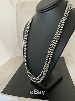 Native American Sterling Silver Navajo Pearls Necklace 24 3S Gift 4,5,6 mm 1402