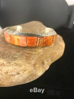 Native American Sterling Silver Spiny Oyster Navajo Inlay Bracelet Mens Gift