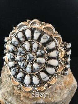 Native American Sterling Silver White Buffalo Turquoise Cluster Bracelet Gift371