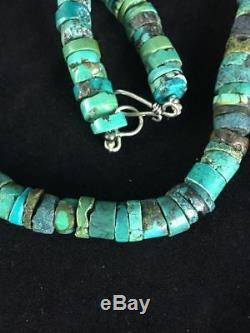 Native American Turquoise 8 mm Heishi Sterling Silver Bead Necklace Gift A308