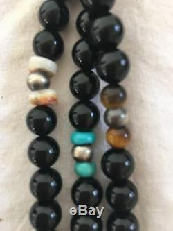 Native American Turquoise Black Onyx Sterling Silver Necklace Gift 319
