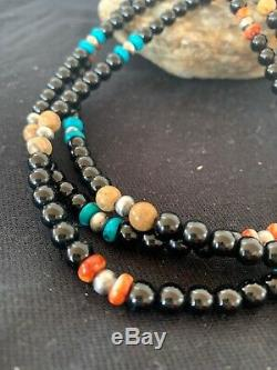 Native American Turquoise Onyx Spiny Pic Jasp Sterling Silver Necklace Gift 4825