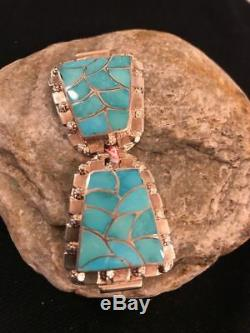 Native American Zuni Sterling Silver Watch Tips Mens Gift S327