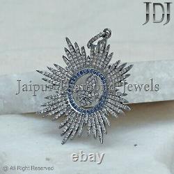 Natural Blue Sapphire Pave Diamond Fleur De Lis Pendant 925 Silver Jewelry GIFTS