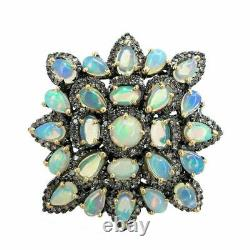 Natural Opal Gemstone & Pave Diamond Rings 925 Sterling Silver Gift Jewelry