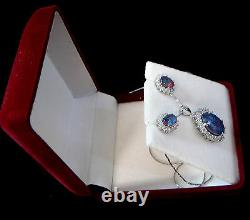 Natural Opal Pendant With Earring Jewellery Gift Box! 925 Sterling Silver Set
