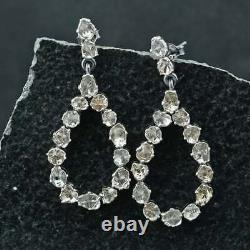 Natural Polki Diamond Earrings 925 Sterling Silver Fine Jewelry Gift For Her SE