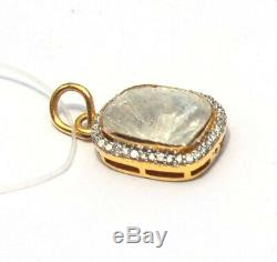 Natural Polki Diamond Handmade Pendant Sterling Silver Jewelry Christmas Gift