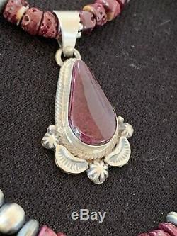 Navajo American Purple Spiny Oyster Sterling Silver Necklace Pendant Set279 Gift