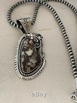 Navajo American Sterling Silver Crazy Horse Turquoise Necklace Pendant 2998 Gift