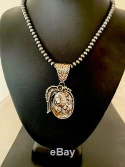 Navajo American Sterling Silver Crazy Horse Turquoise Necklace Pendant 4313 Gift