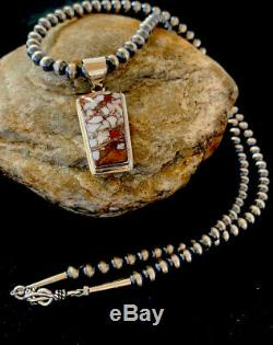 Navajo American Sterling Silver Crazy Horse Turquoise Necklace Pendant Gift 4216