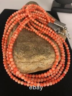 Navajo Angel Skin Bamboo Coral Sterling Silver Necklace Gift