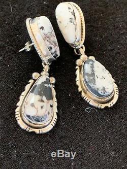 Navajo Dangle WHITE Buffalo TURQUOISE Sterling Silver Earrings 2 Gift 8827