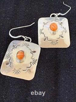 Navajo HandmadeStamped Sterling Silver Orange Spiny Oyster Earrings Set Gift 217