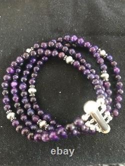Navajo Indian Purple Sugilite Bead Sterling Silver Bracelet Gift
