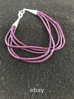 Navajo Indian Purple Sugilite Heishi Sterling Silver Bracelet Gift 6.5