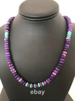 Navajo Indian Purple Sugilite Turquoise Bead Sterling Silver Necklace Gift 3864