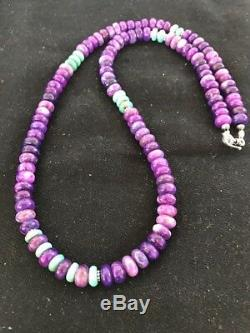 Navajo Indian Purple Sugilite Turquoise Bead Sterling Silver Necklace Gift E 320